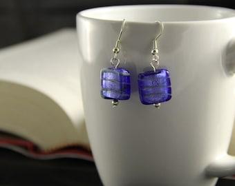 Square dangle earrings (glass)