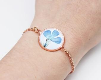 Rose gold blue pressed flower bracelet