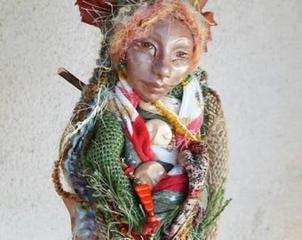 Tara Moon,Art Doll, Shabby  Decor, OOAK Art Doll,  Kitchen Spirit, Decorative Art Doll, Nature Mythology ,Ethnic Art, Zen Decor