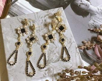 Classy Fabulous Noir Black Rhinestone Drop Earrings - Pierced, Clip On