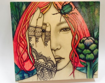 Original painting henna girl and a beetle in water color,pencil and ink