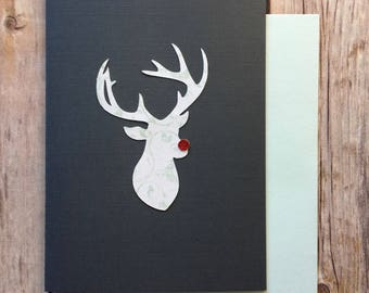 Reindeer Rudolph Hand Crafted Christmas Card - Mint Pattern
