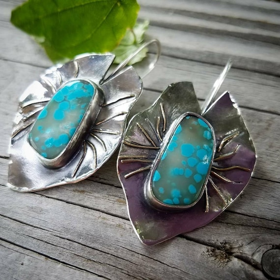 Turquoise Lilypad Leaf Designer Earrings - Artisan Art, One of A Kind, Handmade Metalsmith Jewelry. Turquoise Dangle Leaf Earrings