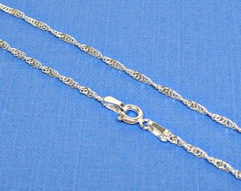 Sterling Silver Necklace Chain Singapore Twist 16, 18, 20 Inches 1.8mm Style 220