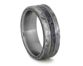 Dinosaur Bone Ring with Meteorite Edges Separated by Two Titanium Pinstripes, Titanium Wedding Band