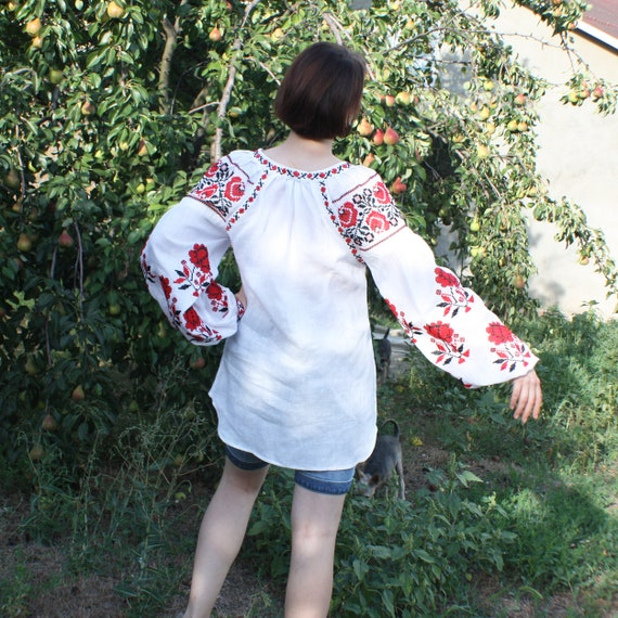 blouse Vyshyvanka White Loose wish Ukrainian Long sleeves shirt long shirt women blouse Linen Ukrainian shirt for embroidered embroidery XBqgB