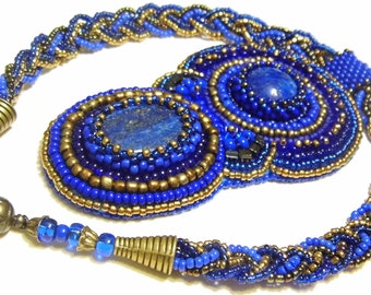 Beaded necklace with natural lapis lazuli cabachons / beadwork / bead embroidery / statement necklace / pendant necklace