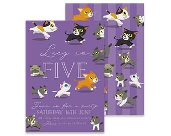 Printable Birthday Invitation | Kitten Invite | Printable DIY Invite, Affordable Invitation, Digital Invite, Girl's Invite, 5th Birthday