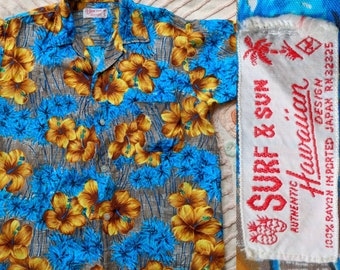 1960's Silky Rayon Aloha Hawaiian Shirt by Surf & Sun - Men's Medium M - Made in Japan - 1960s 60's 60s Atomic Blue Palm Trees Short Sleeve