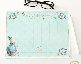 Brides weekly planner printable, instant digital download, Marie Antoinette.  Personal use only