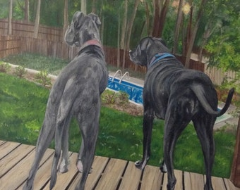 """22x28X1.5"""" Great dane painting from photo custom pet portrait two pets hand painted wall art on canvas"""