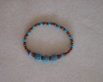 Aqua & Copper Stretch Bracelet