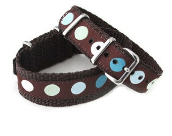SALE! Timex Weekender Replacement 16 mm or 20mm Watch Band, Teal and Brown Polka Dot Strap, SALE!