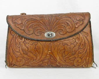 Vintage Oversized Hand Tooled Leather Western Hand Bag / Purse, Shabby Cowgirl Chic