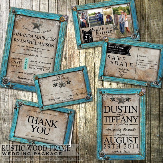 Country Wedding Invitation Wording: Rustic Wedding Invitation And Stationery Set Rustic Turquoise
