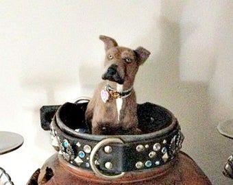 Memorial Sculpture / Mans Best Friend / Miniature Custom Pet Portrait by Gourmet Felted / Large size/ Pitbull