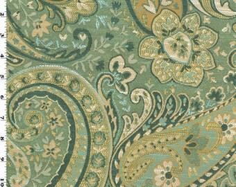 Seafoam Blue Designer Swept Away Paisley Decorating Fabric, Fabric By The Yard