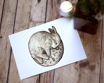 Rabbit On The Moon | Hand Drawn Fantasy Surreal Illustration | Art Print | Wall Decor | Pen Ink Sketch