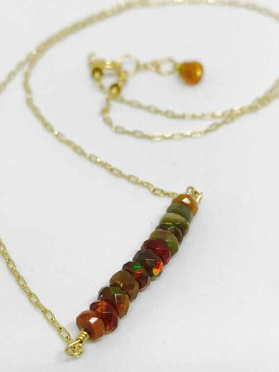 Opal Bar Necklace - Boulder Opal - Welo Opal Crown Chakra Opal Jewelry - October Birthstone  - Gift for Her - Minimalist Necklace