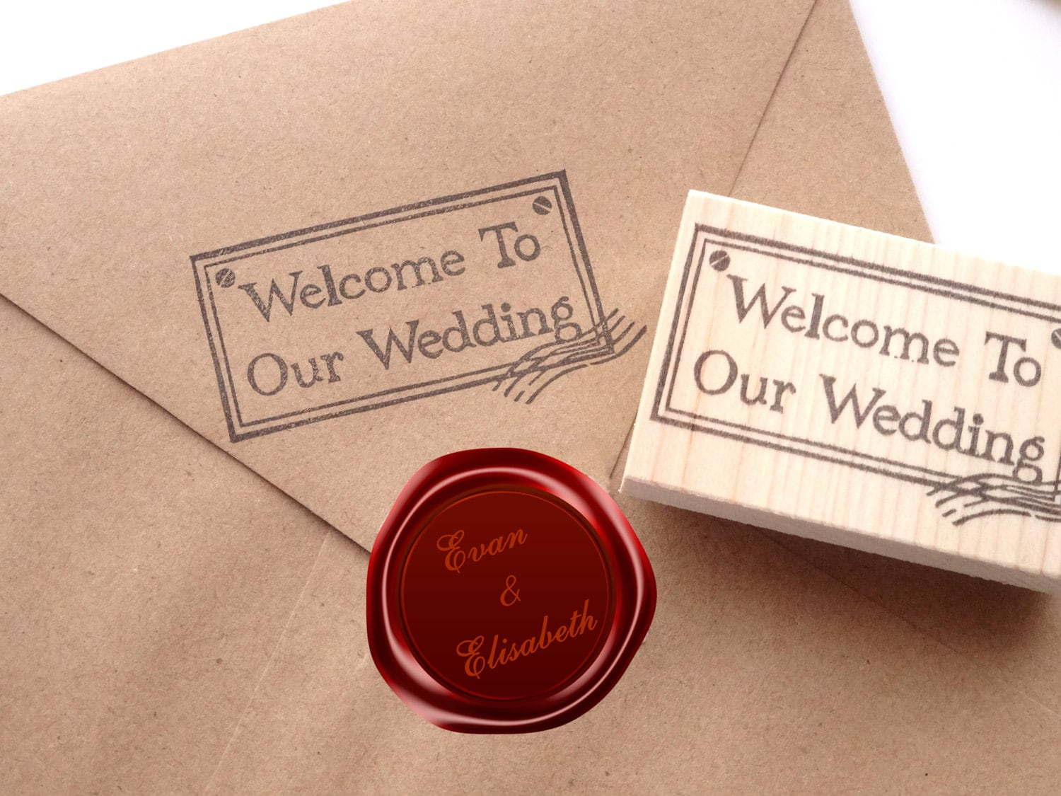 Welcome to our wedding stamp, Invitation decor, DIY wedding, Rubber ...
