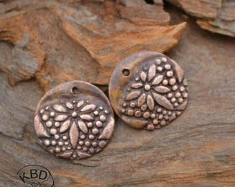 Copper Flower Round Component (1 pair)