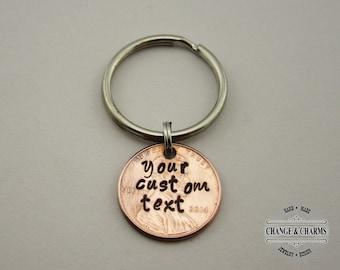 Your Custom Text Penny Keychain, Penny Keychain, Anniversary Keychain, Lucky Penny Keychain, Custom Keychain, Personalized Gift, Custom Gift