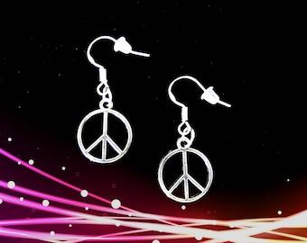 Peace Sign Earrings..Peace Earrings..Peace Symbol Earrings..Peace in Christ Earrings..Hippie Earrings.Peace Sign Jewelry.World Peace Jewelry