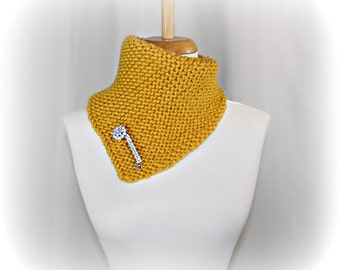 Knit Scarf Cowl Chunky Mustard - Sotterley Cowl