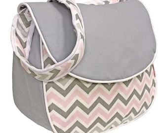 Chevron Pink Monogrammed Messenger Diaper Bag