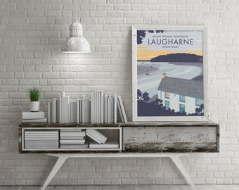 Small - A4 Vintage Style Travel Poster Prints - Dylan Thomas' Boathouse in Laugharne