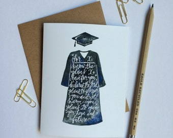 Jeremiah 29:11 | For I Know the Plans I Have for You | Graduation | Cap & Gown | Christian Greeting Card