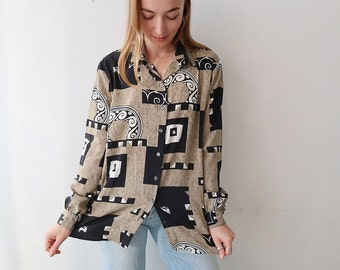 SALE! Oversized/Slouchy Green and Black Patterned Blouse
