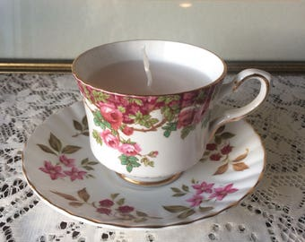 Vintage Teacup & Saucer Sweetpea Scented candle