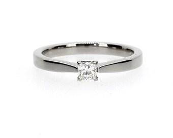 0.15ct Princess cut diamond engagement ring, 950 Platinum, diamond solitaire, Platinum solitaire, simple diamond ring, princess wedding