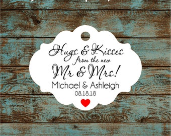 Personalized Hugs and Kisses Wedding Reception Favor Tags # 791 Qty: 30 Tags