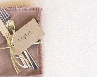 Taupe Fringed Napkin – Hemp / Organic Cotton Table Linen