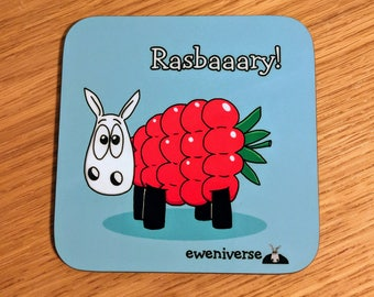 Cute sheep coaster, Rasbaaary! Fun coaster, Funny drinks mat set, Sheep gifts, Colorful homeware, gifts for knitters, Rasberry, fun gift