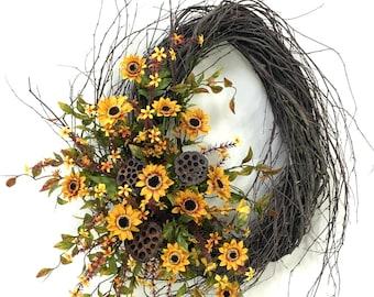 Sunflower Wreath, Fall Wreath, Autumn Wreath, Fall Floral, Sunflower Door Decor, Harvest Wreath, Oval Wreath, Birch Wreath, Fall, Door Decor