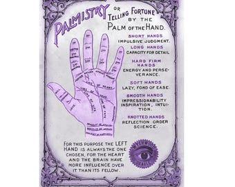 Palmistry Print. Palmistry. Palmistry Print. Palm Reading. Palm Reading Print. Art Print. A4 Art Print. Fortune Telling. Victoriana.