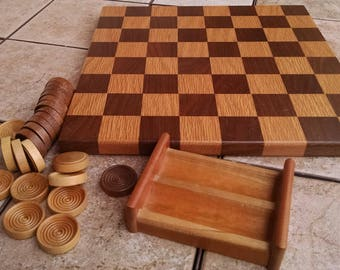 Wooden Checker Board and Checkers / Amish Checker Set / Vintage Checker Board / Vintage Checkers / Retro Board Game