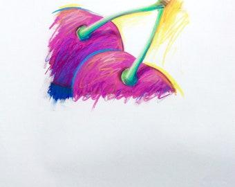 Original Pastel Drawing of Cherries in Pink, Purple and Blue, Cherry Pop Art
