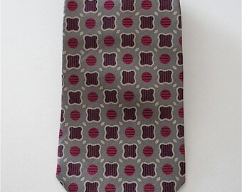 Vintage Neckties Men's 80's Givenchy, Silk, Grey, Printed, Tie