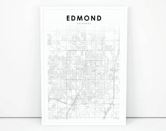 Oklahoma city poster etsy edmond map print oklahoma ok usa map art poster city street road map print malvernweather Images