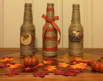 Fall Decor, Fall, Fall bottle, twine bottle