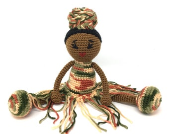 Black Doll, African American, orange, green, hair wrap, Natural hairstlyes, Black Hair Stuffed Toy Baby Girl Gift crochet READY TO SHIP