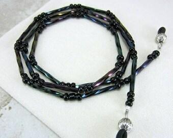 Iridescent Eyeglass Chain, Purple Eyeglass Necklace, Eye Glass Chain, Modern Eyeglass Holder Necklace, Black Lanyard