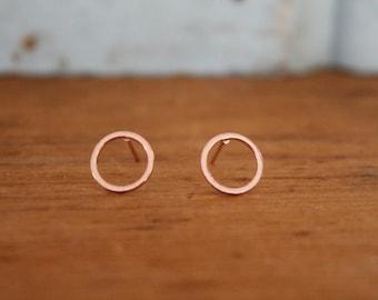 Delicate Rose Gold Karma Earrings   Dainty Friendship Circle Jewelry   Tiny Hoop Stud Earrings