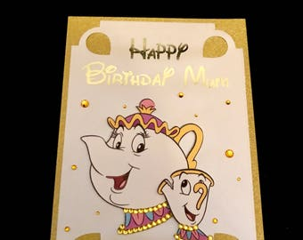 Beauty and the beast handmade personalised birthday card