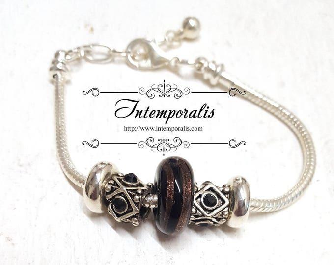 Black and gold lampwork bead charm bracelet, european style bracelet , OOAK, SABRLW05
