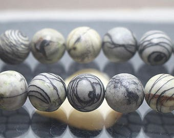 6-14mm Natural Black Picasso Jasper Round Beads, Gemstone beads, 15 inch strands ( 6 mm 8mm 10mm 12mm 14mm )